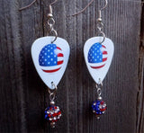 American Flag Ball Guitar Pick Earrings with American Flag Pave Beads
