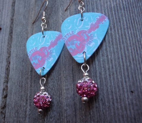 Aqua and Pink Abstract Guitar Guitar Pick Earrings with Pink Ombre Pave Beads