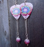 Rainbow Hearts Guitar Pick Earrings with Pink Ombre Bead Dangles