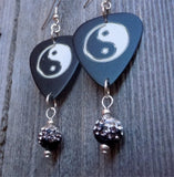 Yin Yang Guitar Pick Earrings with a Black to White Ombre Pave Bead Dangle
