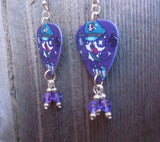 Gangster Panda Guitar Pick Earrings with Purple Swarovski Crystal Dangles
