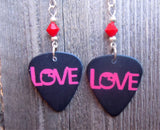 Black and Red Love Guitar Pick Earrings with Red Swarovski Crystals