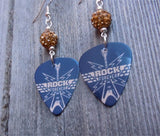 Rock Forever Guitar Pick Earrings with Tan Pave Beads