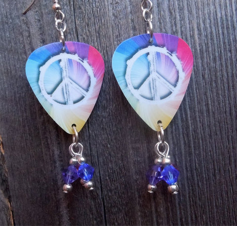 MultiColor Peace Sign Guitar Pick Earrings with Swarovski Crystals