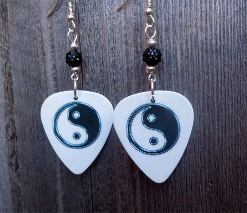 Yin Yang on White Guitar Pick Earrings with Black Pave Beads