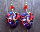 Dragon Breathing Fire Guitar Pick Earrings with Orange Swarovski Crystals