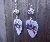 Music Guitar Pick Earrings with Multicolored Pave Beads