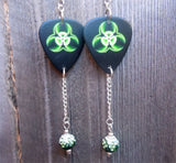 Toxic Guitar Pick Earrings with Green Ombre Pave Bead Dangles