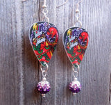 Tattoo Johnny Old School Tattoo Style Snake Guitar Pick Earrings with Purple Ombre Pave Beads