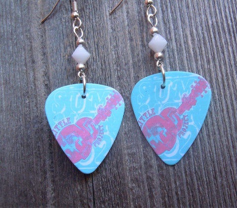 Aqua and Pink Abstract Guitar Guitar Pick Earrings with White Swarovski Crystals