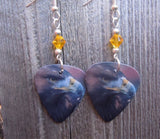 Golden Eagle Guitar Pick Earrings with Yellow Swarovski Crystals