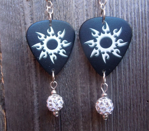 Tribal Sun Guitar Pick Earrings with White Pave Dangles