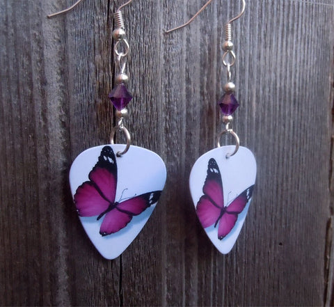 Beautiful Purple Butterfly Guitar Pick Earrings with Purple AB Crystals