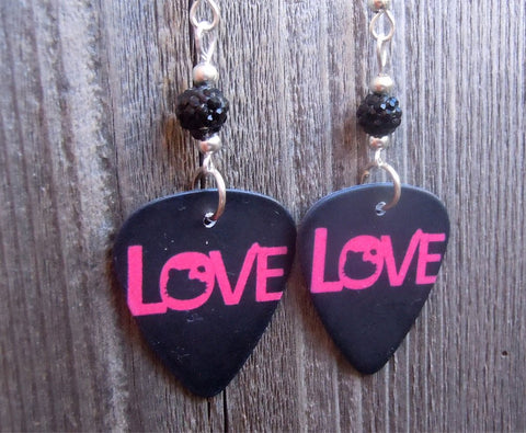 Love Written in Red Guitar Pick Earrings with a Small Black Pave Bead