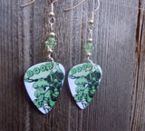 Gas Mask and Explosion Guitar Pick Earrings with Light Green Swarovski Crystals