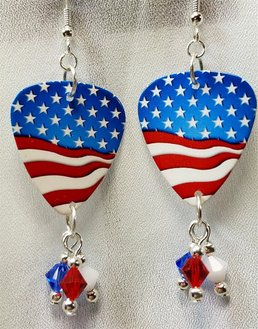 American Flag Guitar Pick Earrings with Red, White, and Blue Crystal Dangles