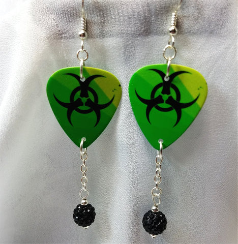 Green with Black Toxic Symbol Guitar Pick Earrings with Black Pave Beads