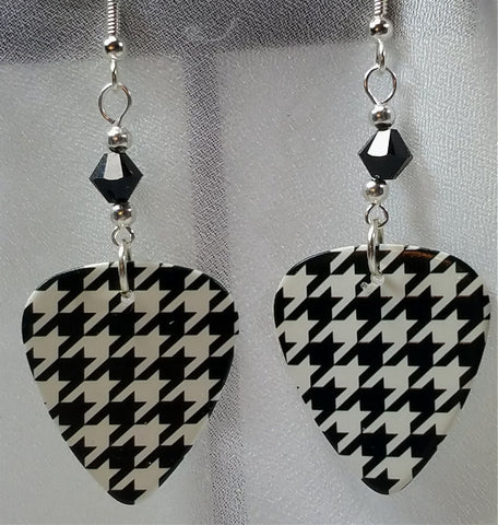 Black and White Houndstooth Guitar Pick Earrings with Black Swarovski Crystals