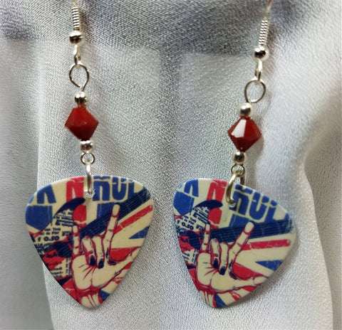 British Rock n Roll Guitar Pick Earrings with Red Crystals