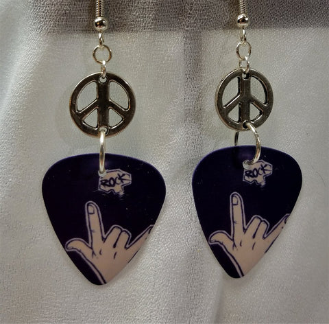 I Love You Hand Sign Guitar Pick Earrings with Peace Sign Connector Charm