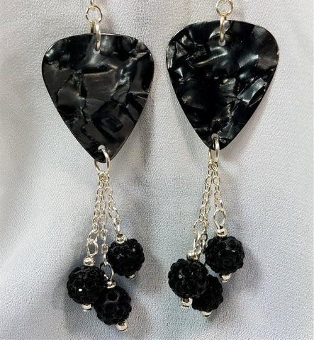 Gray MOP Guitar Pick Earrings with Black Pave Bead Dangles