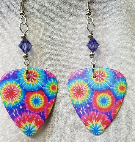 Tie Dye Guitar Pick Earrings with Purple Swarovski Crystals