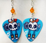 Rockin' Skull with Boombox Guitar Pick Earrings with Orange Swarovski Crystals