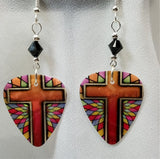 Orange Cross with Stained Glass Guitar Picks with Black Crystals