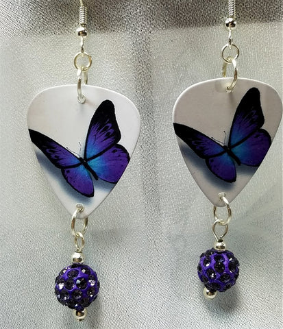 Purple and Blue Butterfly Guitar Pick Earrings with Purple Pave Bead Dangles