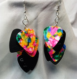 Cascading MultiColor and Black Guitar Pick Earrings