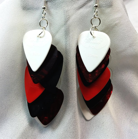 Cascading Red, Black and White Guitar Pick Earrings