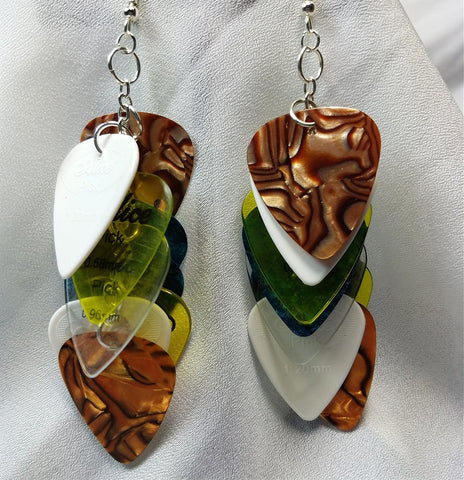 Cascading MultiColor Guitar Pick Earrings