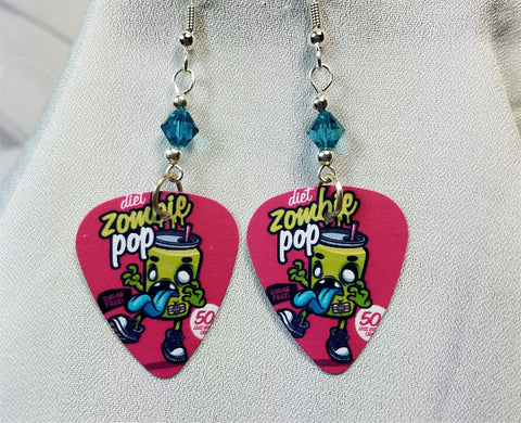 Zombie Pop Guitar Pick Earrings with Blue Swarovski Crystals