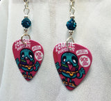 Zombie Burgers Guitar Pick Earrings with Teal Pave Beads