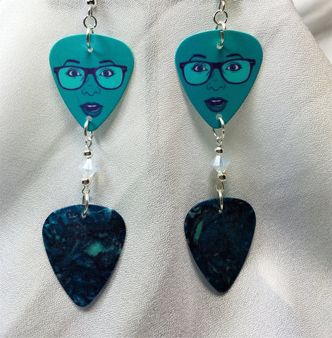 Teal Woman Guitar Pick Earrings Guitar Pick and Swarovski Crystal Dangles