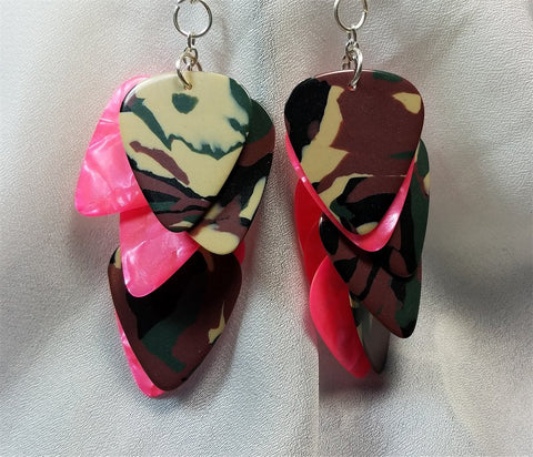 Cascading Camo and Hot Pink Guitar Pick Earrings