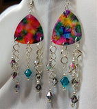 MultiColor Guitar Pick Earrings with Swarovski Crystal Dangles