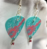 Aqua and Pink Abstract Guitar Guitar Pick Earrings with Pink Crystal Charms
