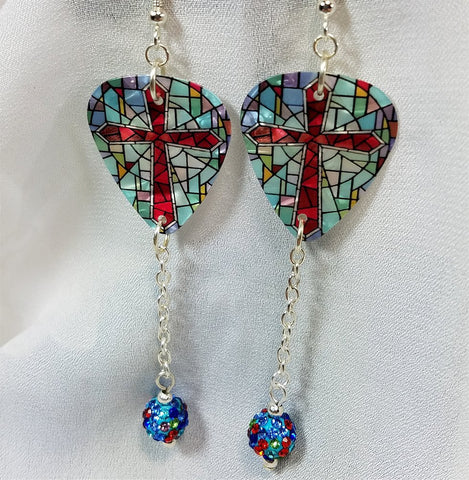 Cross on Stained Glass Guitar Pick Earrings with MultiColor Pave Bead Dangle