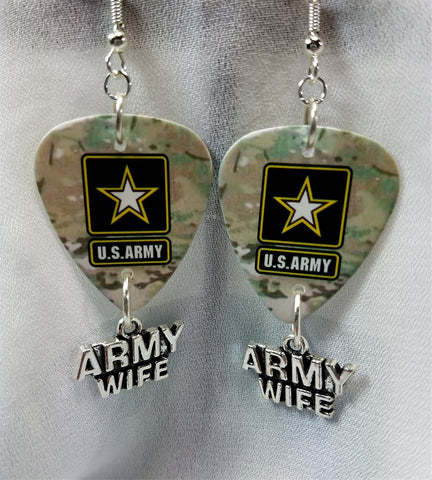 Army Camo Army Wife Guitar Pick Earrings