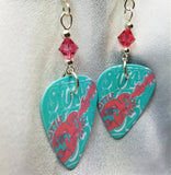 Aqua and Pink Abstract Guitar Guitar Pick Earrings with Pink Swarovski Crystals