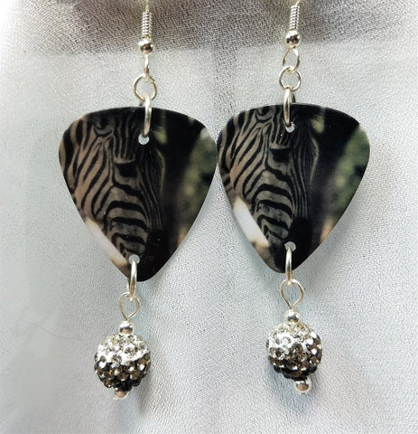 Zebra Guitar Pick Earrings with Black Ombre Pave Bead Dangles