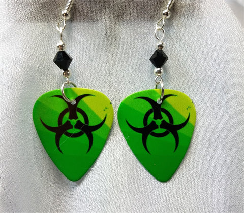 Green and Black Toxic Guitar Pick Earrings with Black Swarovski Crystals