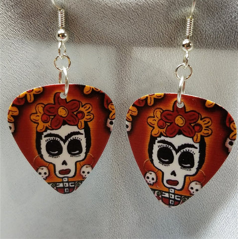 Frida Sugar Skull Guitar Pick Earrings