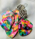 Cascading Multicolor Large Guitar Pick Earrings