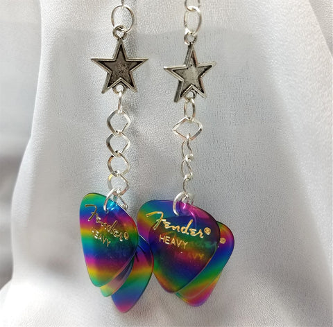 Star Top with Rainbow Stripes Guitar Pick Earrings Cascades