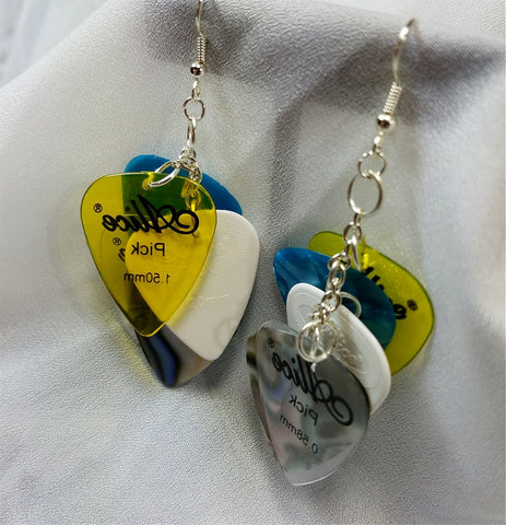 Cascading Multiple Color Guitar Pick Earrings