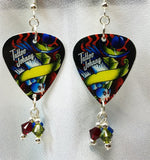 Tattoo Johnny Old School Tattoo Style Sparrow Guitar Pick Earrings with Crystal Dangles