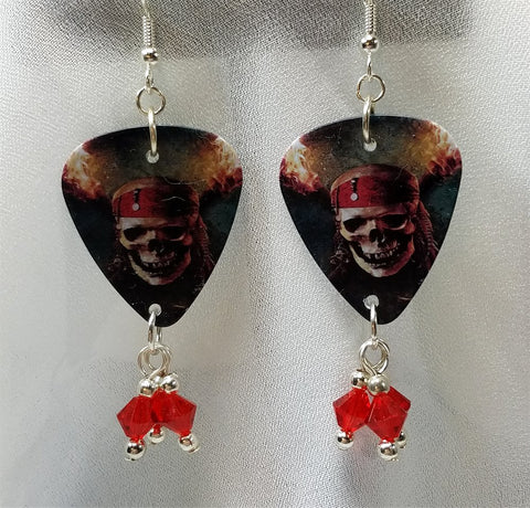 Skull and Crossbones Pirates of the Caribbean Guitar Pick Earrings with Red Swarovski Crystal Dangles