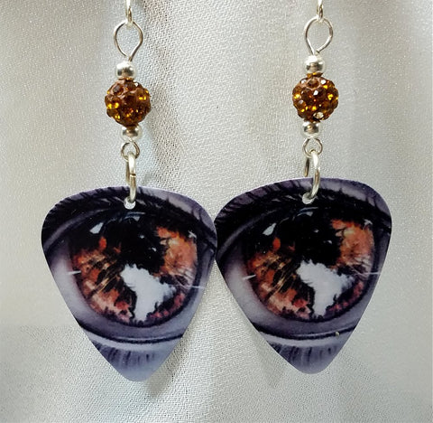 Amber Eyes Guitar Pick Earrings with Amber Pave Beads